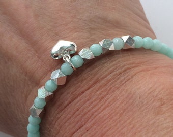 Sterling Silver and Jade Bead Bracelet with Heart Charm, Handmade Gift for Women in Custom Sizes