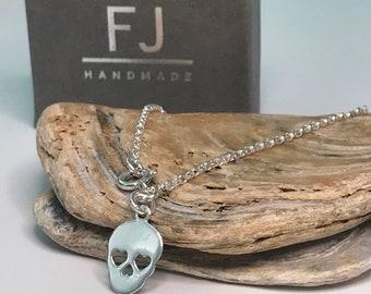 Sterling Silver Anklets for Women, Silver Sugar Skull Charm Anklet Chain, Gothic Anklet Bracelet, UK Handmade, Custom Sizes