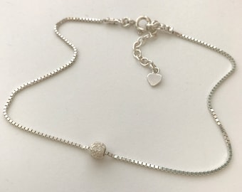 Sterling Silver Box Chain Anklet for Women with Stardust Bead, Handmade Adjustable Ankle Bracelet Gift in Custom Sizes