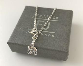 Sterling Silver Anklet for Women, Lucky Elephant Charm Ankle Bracelet, Mini Belcher Ankle Chain, UK Handmade Gift for Women in Custom Sizes
