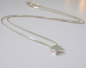 Sterling Silver Necklaces for Women, Handmade Wish Star Box Chain Pendant Gift for Her, Custom Sizes