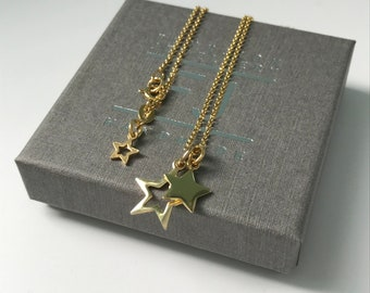 Star Necklace Gold, Double Star Charms Pendant Necklace, Gift for Women, Dainty Gold Vermeil Necklace Chain, UK Handmade, Custom Sizes