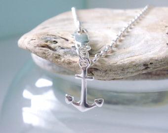 Sterling Silver Anklet Chain, Anchor Charm Ankle Bracelet, Handmade UK Gift for Women, Custom Sizes, Gift Box