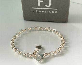 Sterling Silver Heart Clasp Charm Bracelet for Women, Adjustable Belcher Chain with Heart Tag, UK Handmade Gift, Custom Sizes