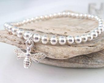 Bee Charm Bracelet Sterling Silver, Lucky Bumble Bee Charm Stretch Ball Beaded Bracelet, Handmade UK Gift for Women, Custom Sizes