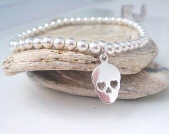 Sterling Silver Beaded Stretch Bracelet, Sugar Skull Jewelry, Handmade UK Gift for Women, Gothic Skull Charm Bracelet