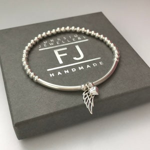 4mm sterling silver beads gift for her Sterling silver beaded bracelet with angel wing charm birthday gift 20mm angel wing charm