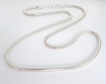 Sterling Silver Snake Chain Necklace, Solid 3mm Round Chain, UK Handmade Gift for Men or Women in Gift Box, Custom Sizes