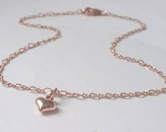 Rose Gold Anklet, Love Heart Charm Ankle Bracelet for Women, Rose Gold Filled Figaro Ankle Chain, UK Handmade Gift for Her, Custom Sizes