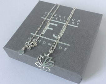 Lotus Flower Necklace Sterling Silver, Lotus Jewelry, Yoga Lovers Pendant, Gift for Women, Bridesmaids, Custom Sizes, Gift Box