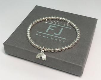 Sterling Silver Rainbow Bracelets, Beaded Stretch Lucky Charm Bracelet for Women, UK Handmade Gift, Custom Sizes, Gift Box