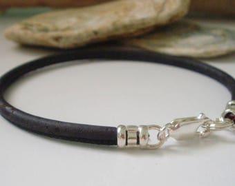 Mens Vegan Bracelets, Sterling Silver & Black Faux Leather Thong Bracelet, UK Handmade Vegan Gift for Men or Women, Custom Sizes, Gift Boxed