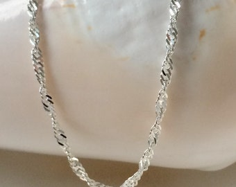 Sparkling Fancy Twist Necklace, 925 Sterling Silver Necklace Twisted Chain, UK Handmade Gift for Women, Custom Sizes, Gift Boxed