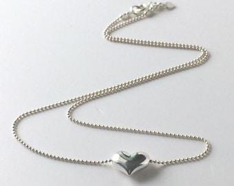 Sterling Silver Puffed Heart Pendant Necklace, Handmade UK Gift for Women, Custom Sizes, Gift Box