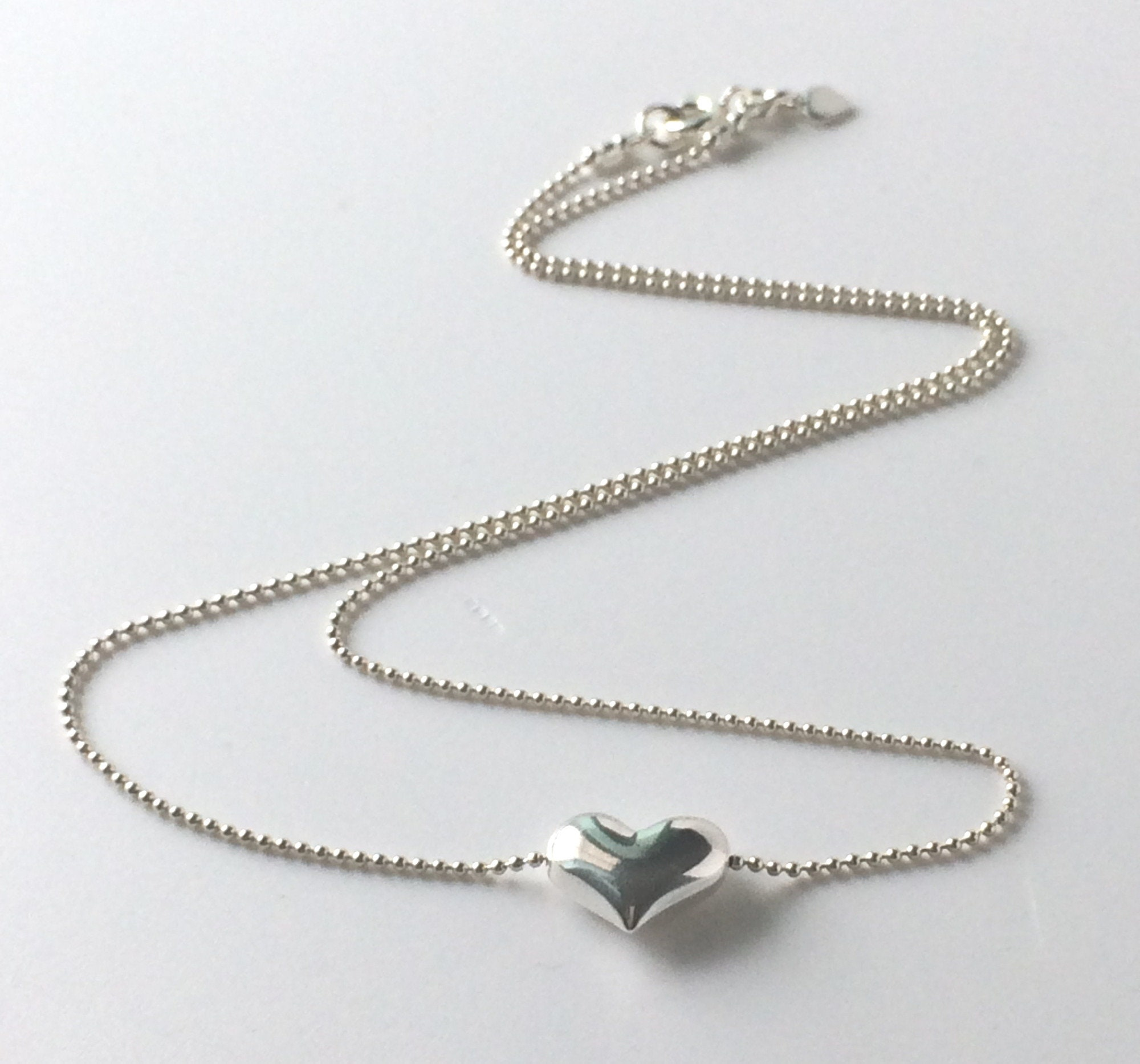 Sterling Silver Womens 1mm Box Chain Maid Of Honor Heart Pendant Necklace