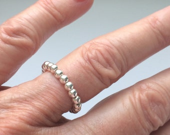 Sterling Silver Stretch Rings, Stacking Beaded Thumb Ring, Toe Ring, UK Handmade UK Gift for Women, Custom Sizes, Gift Boxed