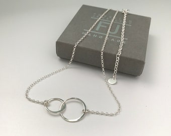 Sterling Silver Interlocking Circle Necklace for Her, UK Handmade Adjustable Choker with Extender, Gift for Women, Custom Sizes, Gift Boxed