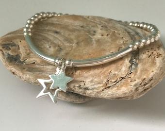 Sterling Silver Star Bracelet, Double Star Charms Stretch Beaded Bracelet, UK Handmade Gift for Women, 4mm Beads, Custom Sizes