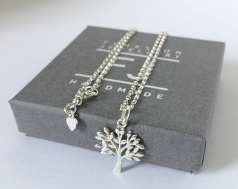 Sterling Silver Tree of Life Necklace, Pendant Necklace Gift for Women, UK Handmade Chain Necklace, Custom Sizes, Gift Boxed