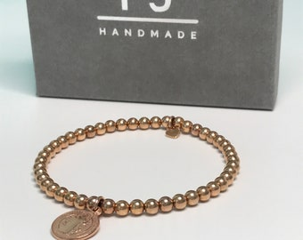 Rose Gold Bead Bracelet, Coin Charm Bracelet, UK Handmade Stretch Rose Gold Filled Beaded Bracelets, Gift for Women, Custom Sizes