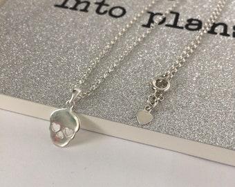 Sterling Silver Skull Necklace, Day of the Dead Halloween Pendant, UK Handmade Gift for Women, Custom Sizes, Gift Boxed