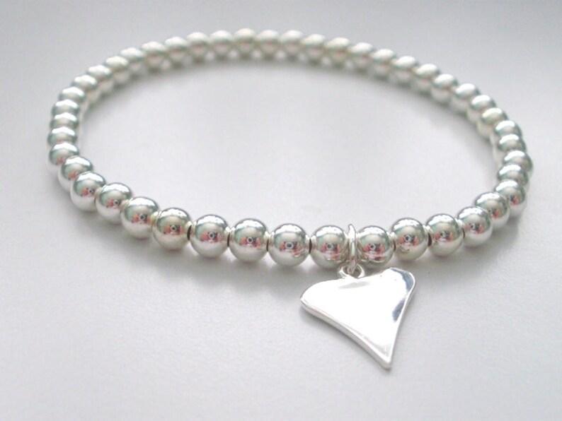 4mm Beads Gift for Women Love Charm Wedding Jewellery Sterling Silver Silver Heart Bracelet Custom Sizes Simple Bracelet Handmade