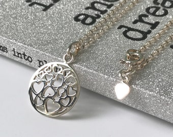 Circle Necklace Sterling Silver, Heart Design Disc Pendant Necklace for Women, UK Handmade Choker Necklace, Custom Sizes, Gift Boxed