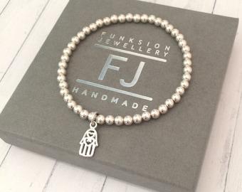 Sterling Silver Hamsa Hand Bracelet, Stretch Beaded Charm Bracelet, UK Handmade Stacking Gift for Women, Custom Sizes, Gift Box