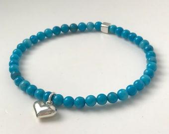 Turquoise Bead Bracelet Sterling Silver Heart Charm, Semi Precious Gemstone Bracelet, UK Handmade Gift for Women, Custom Sizes, Gift Box
