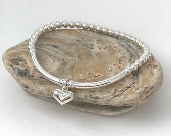 Sterling Silver Bead Bracelet UK, Love Heart Charm Bracelet for Women, Handmade Stretch Beaded Bracelet Jewelry Gift for Her, Custom Sizes