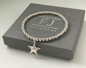 Sterling Silver Star Charm Bracelet, Beaded Wish Bracelet, UK Handmade Gift for Women, Custom Sizes, Gift Boxed