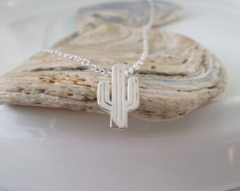Cactus Necklace, Silver Necklace Pendant, 925 Silver Choker, Cactus Gift, Dainty Necklace, Layering Necklace, Personalize, gift for Women