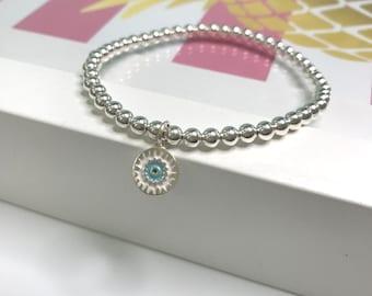 Sterling Silver Beaded Bracelet for Women, Mandala Coin Charm, Stretch Stacking Bracelets, UK Handmade Gift, Custom Sizes, 4mm Beads
