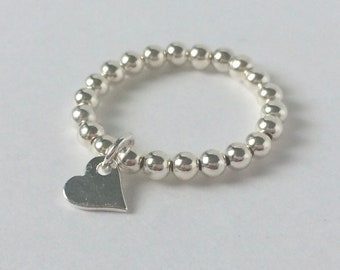 Sterling Silver Beaded Rings with Heart Charm, Stretch Stacking Gift for Women, Custom Sizes, UK Handmade, 3mm Ball Beads