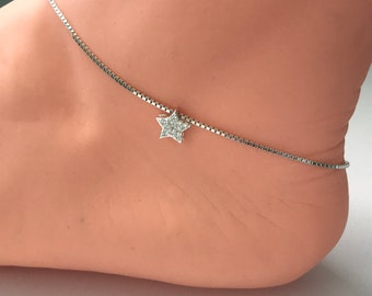 Sterling Silver Star Anklet, Cubic Zirconia Star Bead Charm on Box Chain, Sparkly Handmade Ankle Bracelet Gift for Women, Custom Sizes