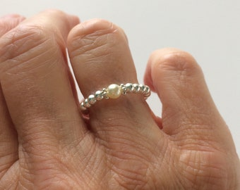 Sterling Silver Ring for Women, Silver Beaded Ring with Cream Pearl, Stacking Stretch Ring, UK Handmade Gift for Her, Custom Sizes