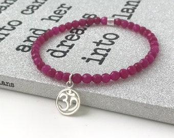 Pink Gemstone Beaded Ohm Charm Bracelet, Sterling Silver Om Stretch Bracelet, UK Handmade Gift for Women, Custom Sizes, Gift Boxed