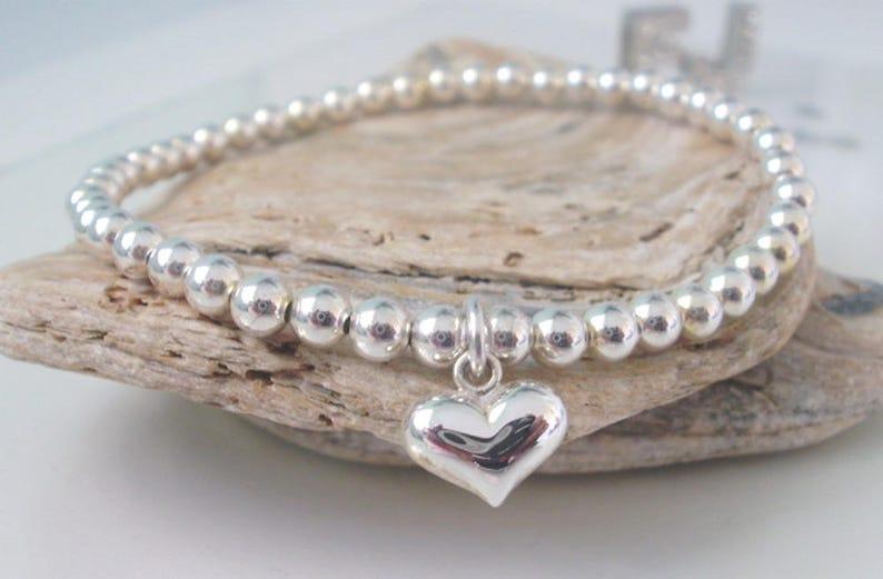 Silver Bead Bracelet Sterling Silver Heart Charm Handmade Custom Sizes 4mm beads Stretch UK Gift for Women Beaded
