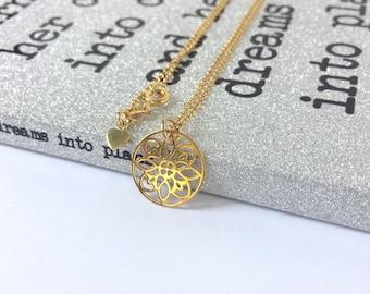 Simple Gold Necklace, Mandala Flower Pendant for Women, Flower Design, Gold Vermeil Jewellery, Gift for Girlfriend, Custom Sizes, Handmade