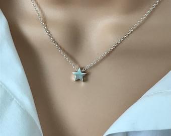 Sterling Silver Star Necklace Choker, Adjustable with Extender, UK Handmade Gift for Women in Gift Box, Custom Sizes