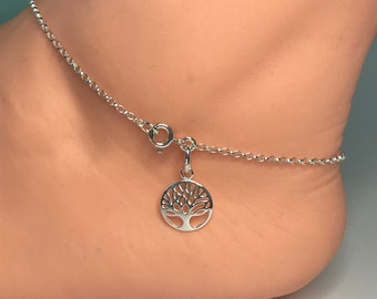 Sterling Silver Tree of Life Anklet, UK Handmade Ankle Chain Bracelet, Gift for Women in Gift Box, Custom Sizes