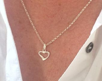 Sterling Silver Heart Charm Necklace for Women, Open Heart Pendant Choker, UK Handmade Gift for Her, Custom Sizes