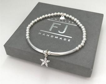 Flower Charm Bracelet, Sparkly Charm Bracelet, Sterling Silver Stretch Beaded Bracelet, UK Handmade Gift for Women, Custom Sizes