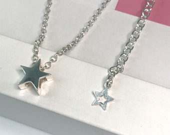 Sterling Silver Star Choker Necklace, Silver Star Bead Necklace with Extender, UK Handmade Womens Gift, Custom Sizes, Initial Charm Option