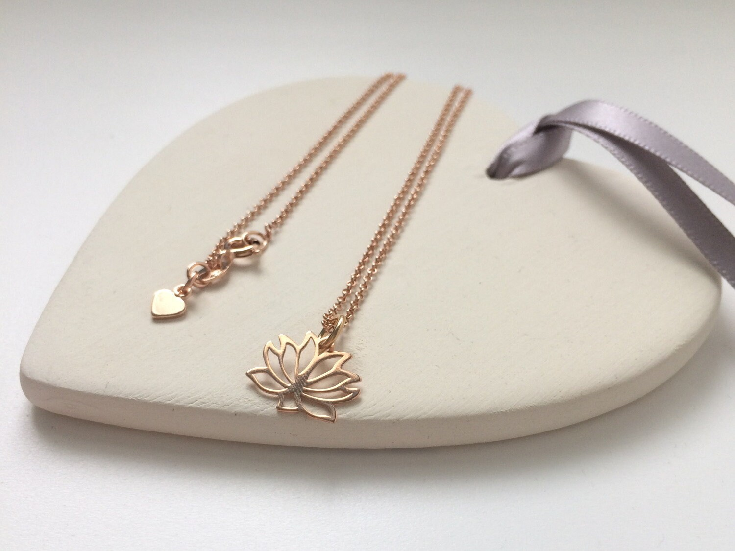 Lotus Flower Necklace Rose Gold Vermeil Jewelry Yoga Lovers
