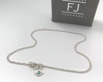 Sterling Silver Evil Eye Anklet,  Ankle Chain Bracelet, Gift for Women, UK Handmade, Custom Sizes