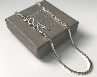 Sterling Silver Adjustable Box Chain Anklet, 1.9mm Ankle Bracelet Solid 925 Silver Box Chain, UK Handmade Gift, Custom Sizes, Gift Boxed