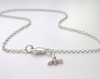 Sterling Silver Anklets, Bee Charm Ankle Chain Bracelet, UK Handmade Lucky Charm Gift for Women, Custom Sizes
