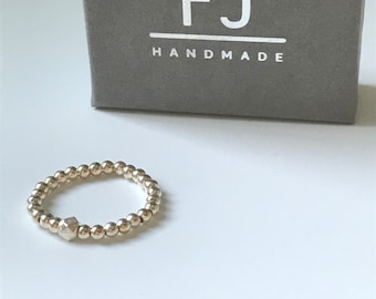 Sterling Silver Beaded Ring, 925 Silver Stacking Stretch Bead Ring, UK Handmade Gift for Women, Girlfriend, Gift Boxed, Custom Sizes