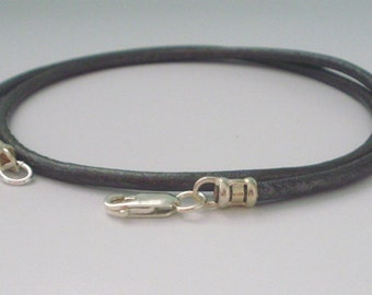 Mens Leather Necklaces, Sterling Silver & Grey Leather Thong Necklace, UK Handmade Gift for Men, Custom Sizes, Gift Boxed